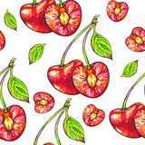 Doce da cereja em um fundo branco Teste padrão sem emenda para o projeto Ilustrações da animação Handwork Fotografia de Stock Royalty Free