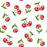 Doce da cereja em um fundo branco Teste padrão sem emenda para o projeto Ilustrações da animação Handwork Foto de Stock Royalty Free