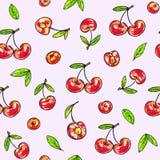 Doce da cereja em um fundo cor-de-rosa Teste padrão sem emenda para o projeto Ilustrações da animação Handwork Imagens de Stock
