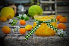 Doce de fruta alaranjado em um frasco de vidro com fruto fresco Fotos de Stock Royalty Free