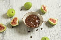 Doce de fruta do figo e do café Foto de Stock