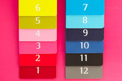 Doce diversos diarios del color en un escritorio de madera rosado Imágenes de archivo libres de regalías