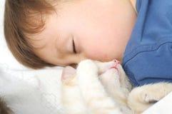 Doce do sono do menino e do gato Imagem de Stock