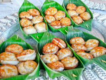 Doce e Hotcakes grelhados segurelha do Coco-arroz Imagem de Stock