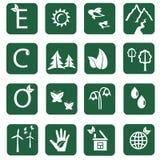 Doce iconos de la ecología Foto de archivo libre de regalías