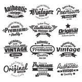 Doce insignias o etiquetas del vintage Fotografía de archivo