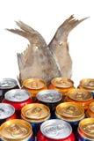 Doce latas de aluminio de la cerveza Fotografía de archivo libre de regalías
