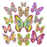Doce mariposas coloridas brillantes Imagen de archivo