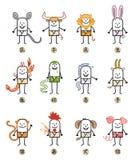 Doce muestras chinas de los personajes de dibujos animados del zodiaco ilustración del vector