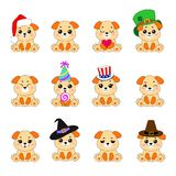 Doce perros de Emoji ilustración del vector
