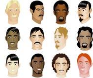 Doce razas de las caras de los hombres diversas y culturales Foto de archivo libre de regalías