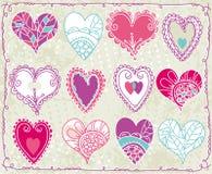 Doce tarjetas del día de San Valentín corazón, vector stock de ilustración
