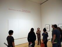 docent объясняет белизну картины стоковые фото