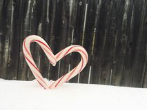 Doces Cane Heart Imagem de Stock Royalty Free