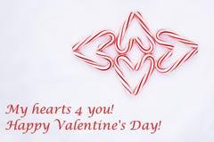 Doces Cane Shaped Hearts Valentine Card fotografia de stock royalty free