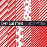 Doces Cane Stripes e testes padrões do vetor das pastilhas de hortelã em vermelho e em branco ilustração royalty free