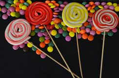 Doces doces coloridos Doces cor-de-rosa, amarelos e verdes Imagem de Stock Royalty Free