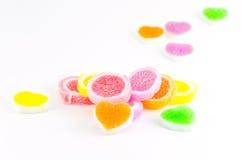 Doces coloridos da geléia isolados no fundo branco Foto de Stock