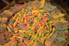 Doces coloridos de formulários diferentes - doce de fruta, marshmallow fotografia de stock