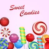 Doces coloridos doces no fundo cor-de-rosa ilustração 3D Fotos de Stock