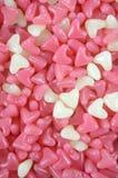 Doces cor-de-rosa e brancos da geleia da forma do coração Fotografia de Stock Royalty Free