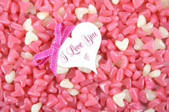 Doces cor-de-rosa e brancos do dia de Valentim do coração da forma da geleia Fotos de Stock