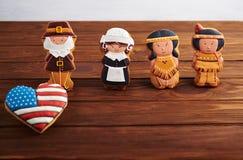 Doces da ação de graças em um fundo de madeira Foto de Stock