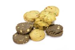 Doces da cookie no fundo branco Fotos de Stock Royalty Free