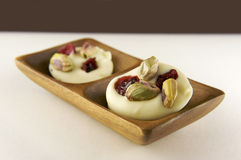 Doces de chocolate brancos do gourmet Imagem de Stock Royalty Free
