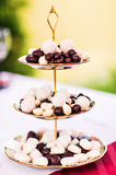 Doces de chocolate brancos e marrons na placa fotos de stock royalty free