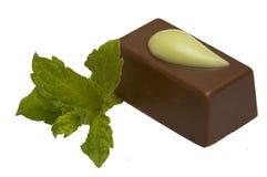Doces de chocolate com a hortelã, isolada foto de stock royalty free