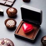 Doces de chocolate dados forma coração em uma caixa de presente Fotos de Stock Royalty Free