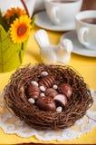 Doces de chocolate dados forma ovo da páscoa em um ninho imagem de stock royalty free