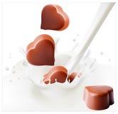 Doces de chocolate que caem no respingo leitoso. ilustração do vetor