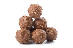 Doces de chocolate redondos isolados Fotografia de Stock