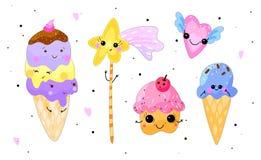 Doces de Kawaii ajustados O gelado, o queque, o coração e a estrela isolaram o ilustração royalty free