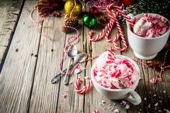 Doces de pastilha de hortelã Cane Ice Cream foto de stock royalty free