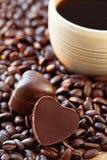 Doces do café e de chocolate. fotografia de stock