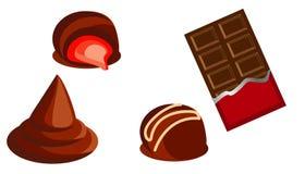 Doces do chocolate doce e barras de chocolate ilustração do vetor