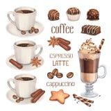 Doces do copo e do chocolate de café Imagem de Stock Royalty Free