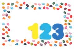 Doces do feijão de geleia e 123 dígitos fotos de stock royalty free
