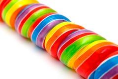 Doces do Lollipop do Twirl do arco-íris fotografia de stock