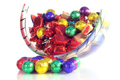 Doces do Natal em uma bacia de vidro Foto de Stock