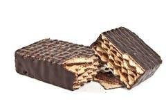 Doces do waffle do chocolate fotografia de stock