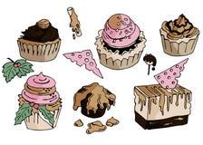 Doces e bolos tirados mão da garatuja Ilustração do vetor ilustração stock