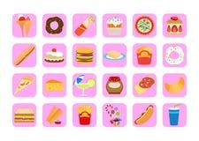 Doces e ícones do alimento gordo Imagem de Stock
