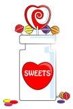 Doces e frasco do amor Imagem de Stock