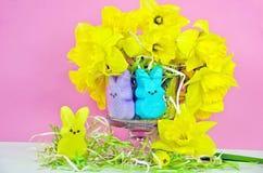 Doces e narcisos amarelos do coelhinho da Páscoa Fotografia de Stock