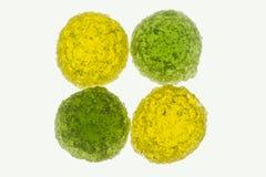 Doces gomosos doces amarelos e verdes Foto de Stock Royalty Free
