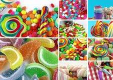 Doces Lolly Sugary Collage doce imagem de stock